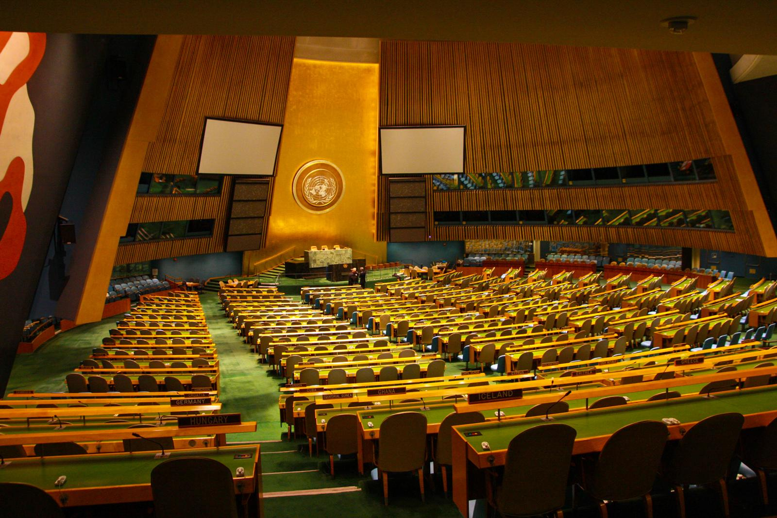 United Nations General Assembly hall.