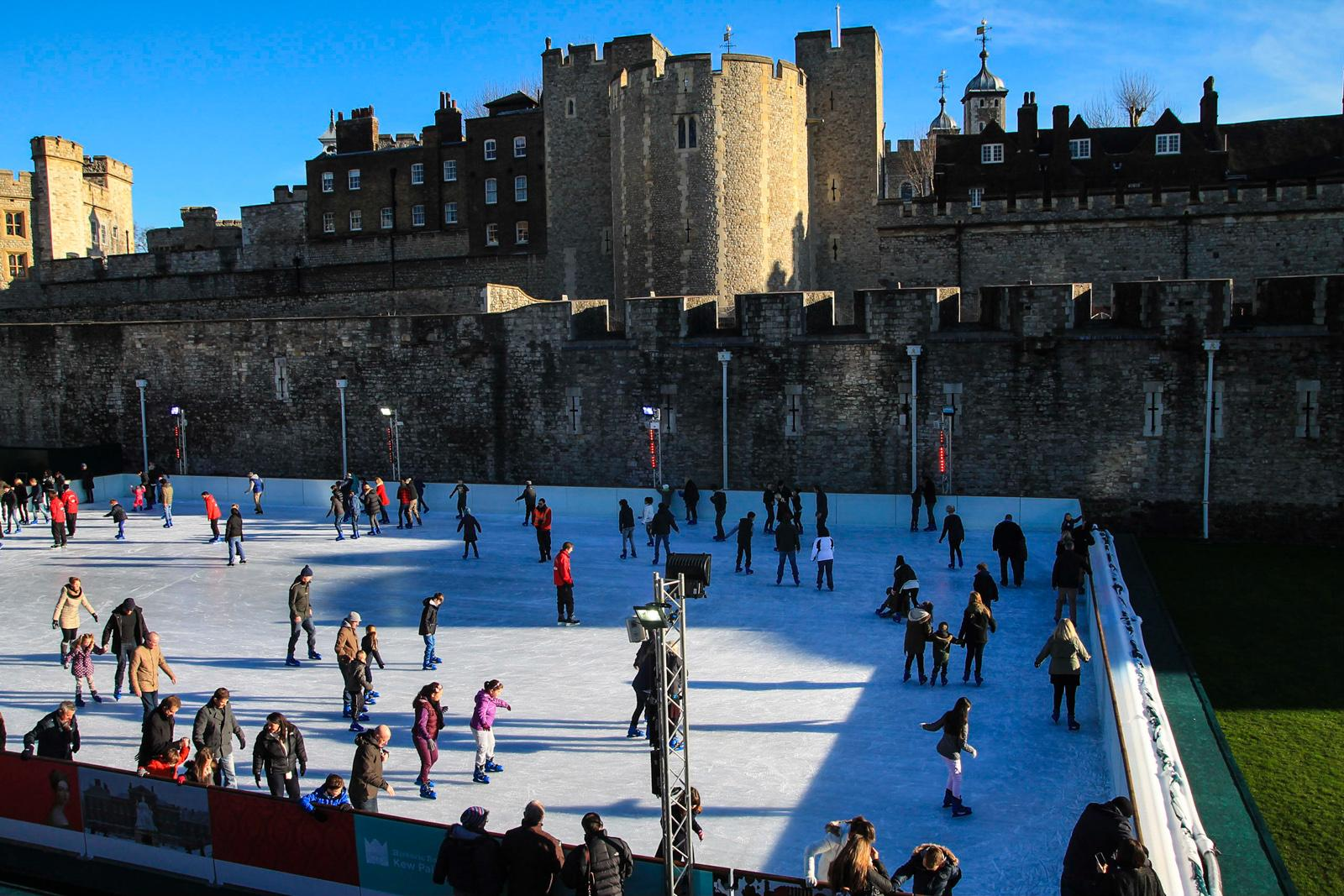 Ice-Skating in Front of the Tower of London