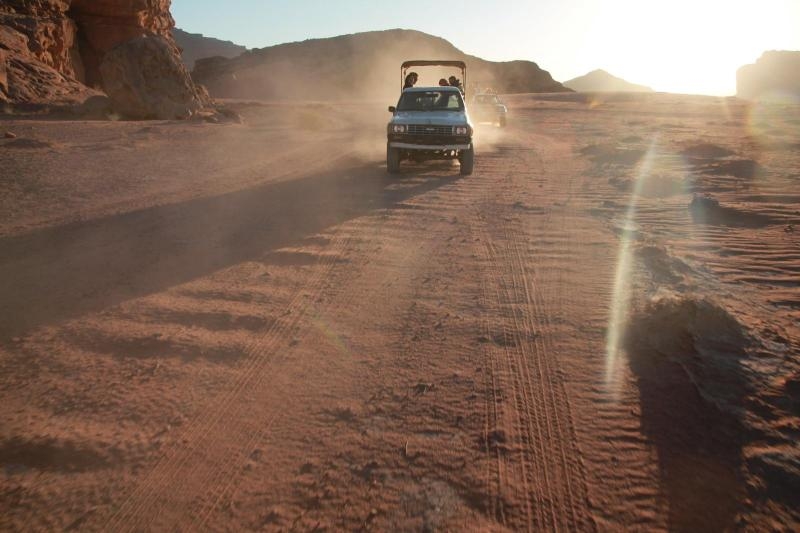 Jeeps race through Wadi Rum