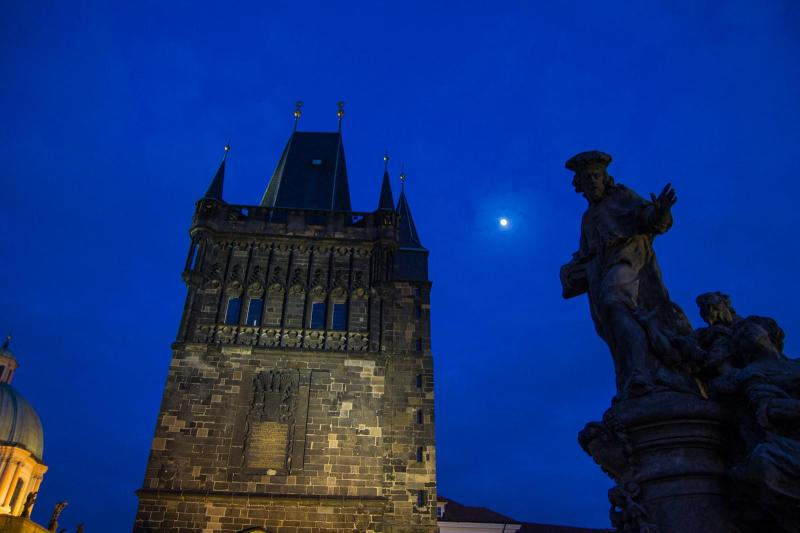 Eastern Tower of the Charles Bridge at Moonlight